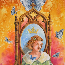 Watercolor painting depitcing a young lady on her personal throne, reflecting on her life choices and challneges.
