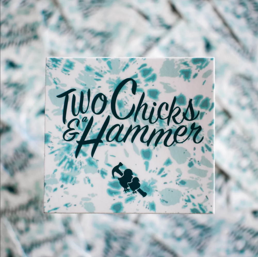 Sticker - Two Chicks Teal Tie-Dye