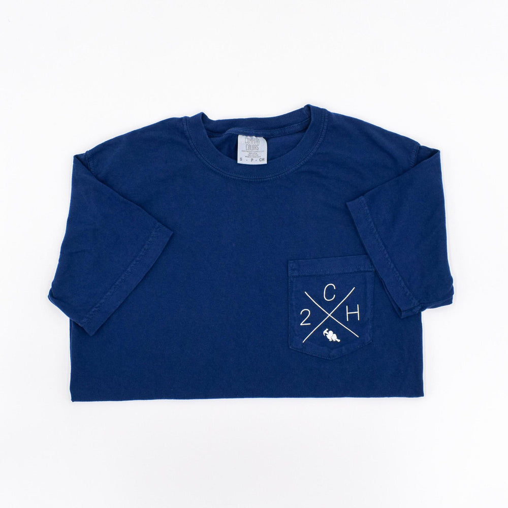 Two Chicks and a Hammer Homes Pocket Tee - True Navy