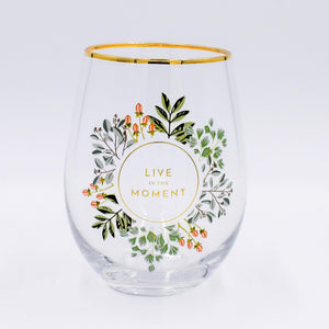 Stemless Wine Glass - Live in the Moment