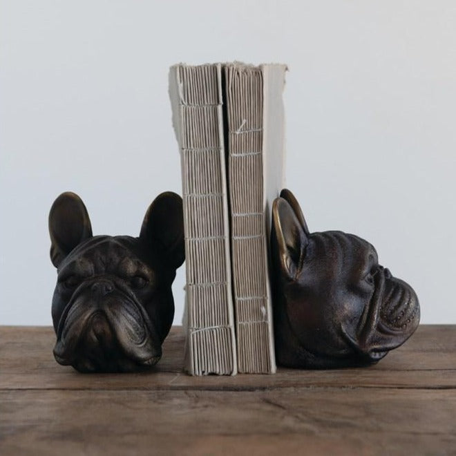 Resin Dog Head Bookends - Antique Bronze