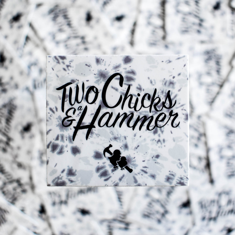 Sticker - Two Chicks Grey Tie-Dye