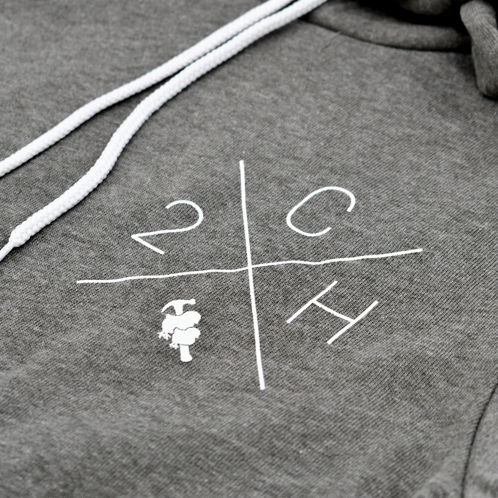 Two Chicks and a Hammer X Logo Hoodie - Deep Heather