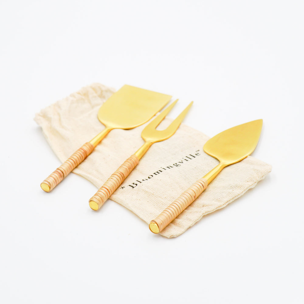 Load image into Gallery viewer, Rattan Cheese Server Set - Gold Finish