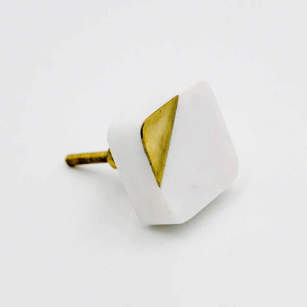 Square Marble & Gold Knob
