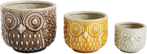 Load image into Gallery viewer, Set of 3 Owl Pots