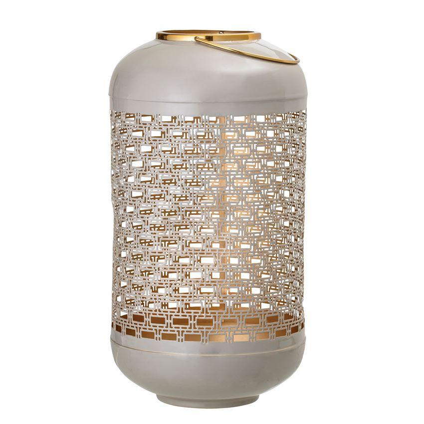 Load image into Gallery viewer, Punched Metal Lantern - Light Grey