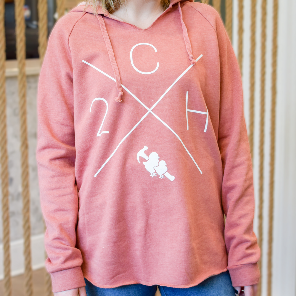 Two Chicks V-Neck Hoodie - Dusty Rose