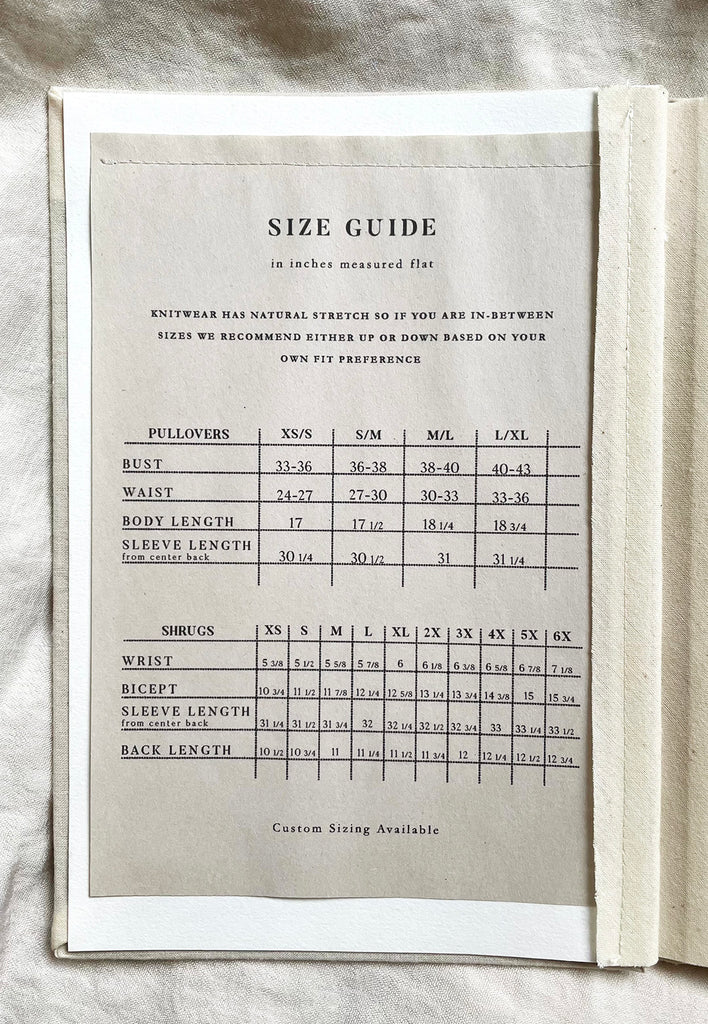 ESTHER ANDREWS SIZE CHART
