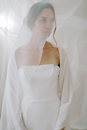 Wedding shawl made from sustainable 100% Cashmere, front view 2