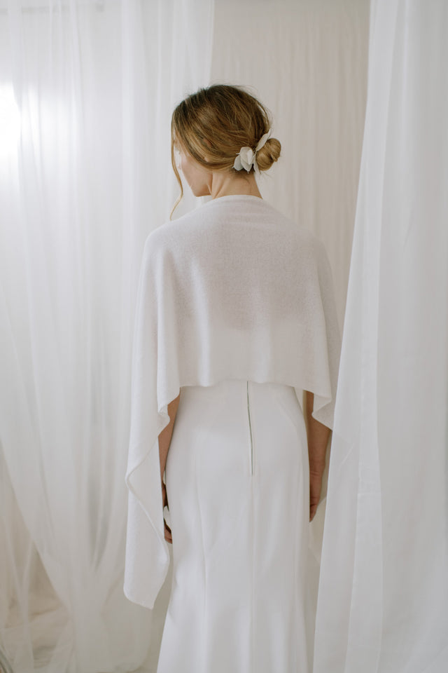 Wedding shawl made from sustainable 100% Cashmere, back  view