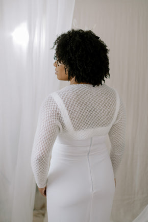 Hand Knit Star Lace Shrug - Classic Sleeve