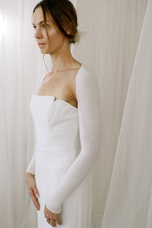 Sustainable Cashmere Wedding Shrug. Side View