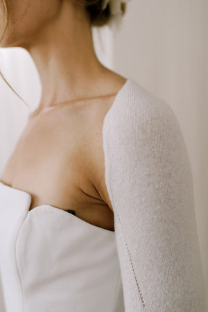 Sustainable Cashmere Wedding Shrug. Side detail View