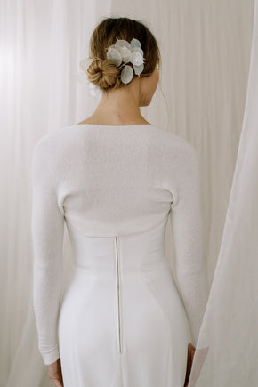 Sustainable Cashmere Wedding Shrug. Back View