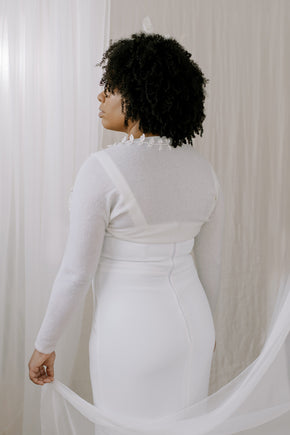 Wedding Shrug made from sustainable 100% Cashmere. Hand crochet silk vines adorn the neckline.  Back view