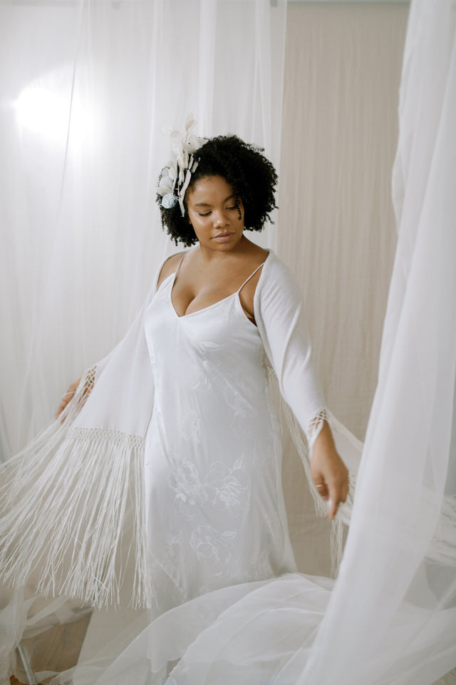 Fringe Cashmere Wedding Shawl Wrap - movement view