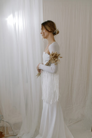Boho Fringe Cashmere Wedding Shawl - side view
