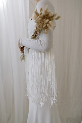 Boho Fringe Cashmere Wedding Shawl - close view
