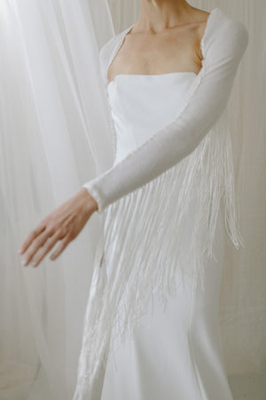 Boho Fringe Cashmere Wedding Shawl - front movement view