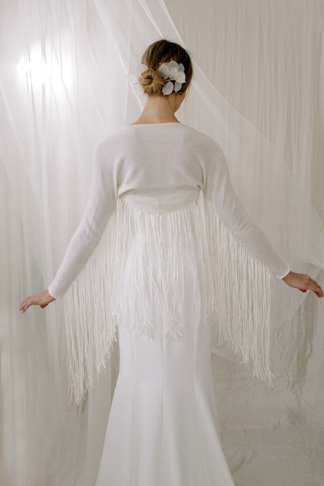 Boho Fringe Cashmere Wedding Shawl - back view
