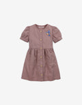 GIRLS WAISTED SHIRRED DRESS WITH BIRD EMBRO BADGE - Gingersnaps