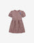 GIRLS WAISTED SHIRRED DRESS WITH BIRD EMBRO BADGE