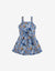 GIRLS FRILLY STRAPPY WAISTED DRESS WITH FRONT PLACKET