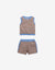 GIRLS STRIPEY SHORTS SET WITH CONTRAST COLOR RIBBING