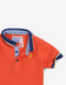 BABY BOYS TRICOLOR COLLAR POLO WITH LIGHTNING EMBRO