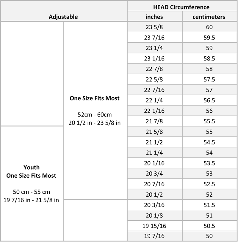 Notch Adjustable Hat Size Chart