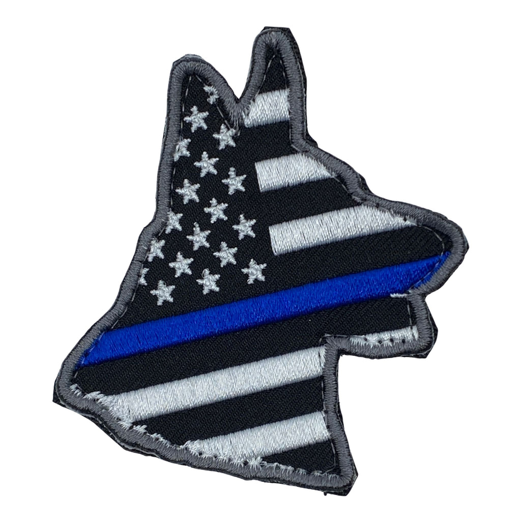 Die Cut K-9 US Thin Blue Line Flag Embroidered Patch