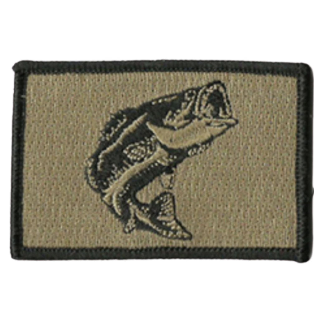 "Largemouth Bass Embroidered Patch, Color Coyote Tan, Velcro® backing, 2""x3"""