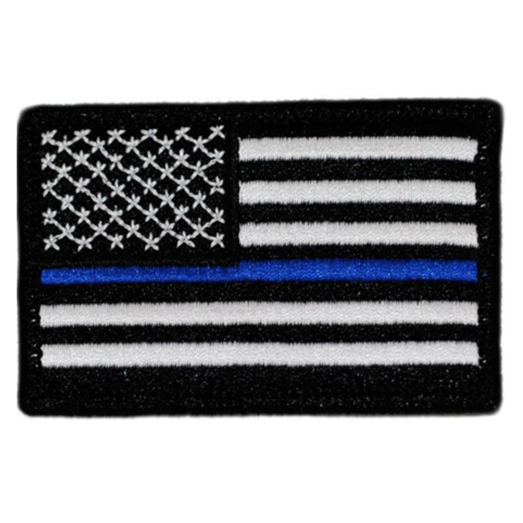 "Thin Blue Line Embroidered US Flag Patch, 2""x3"" sized with Velcro® backing"