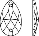 Line Drawing Swarovski Sew on stone Pear Teardrop Crystal 2 holes Article 3230