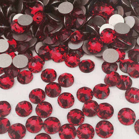 actual photo of Siam red crystals from Swarovski Elements deep blood red
