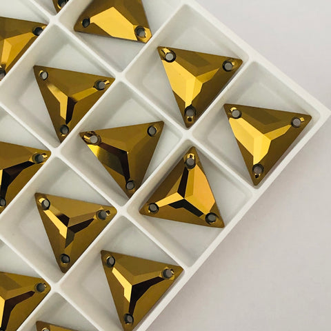 Swarovski® crystal SEW-ON STONES - Article 3270 - TRIANGLE - CRYSTAL DORADO - 16 mm