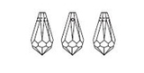line drawing showing the facets of Article 6000 teardrop pendants from Swarovski