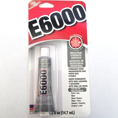 E6000 Glue - Industrial Strength Adhesive - 29.5 ml (1.0 FL oz) - Clear - Permanent Bond - Made in USA