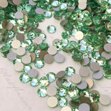 actual photo of pale green Chrysolite rhinestones manufactured by Swarovski Elements