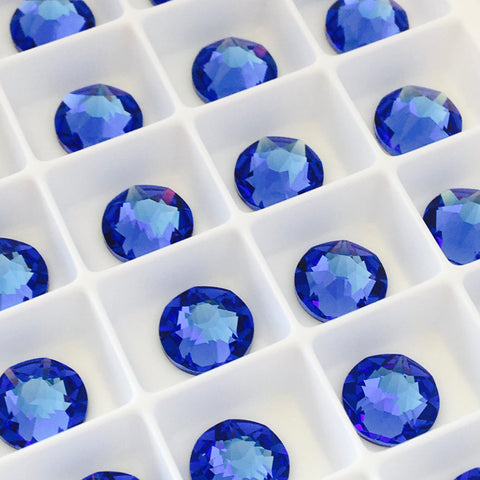 actual photo of no hotfix crystals in Sapphire colour a lovely lavender blue made by swarovski