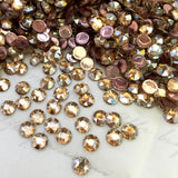 another photo of Swarovski rhinestones in Golden Shadow colour iron on diamantes