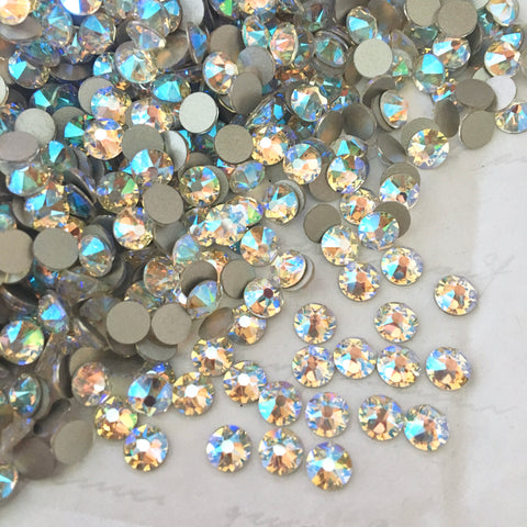 real photo of the colour Crystal Shimmer from Swarovski flat back range