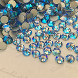 real photo of the new special effect colour Crystals from Swarovski Light Sapphire Shimmer a pale blue with coating