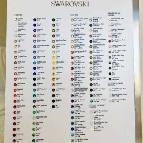 Swarovski® crystal Flat Back - Colour Chart - Featuring No Hotfix & Hotfix colours, sizes & shapes