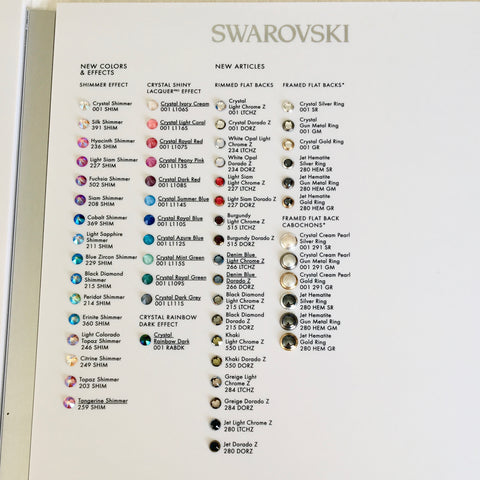 19d83a5b1f1 ... Swarovski® crystal Flat Back - Colour Chart - Featuring No Hotfix & Hotfix  colours, ...