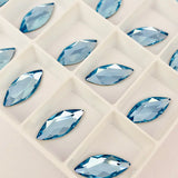 real photo of Aquamarine coloured marquise shape stones from Swarovski Crystal Hotfix range