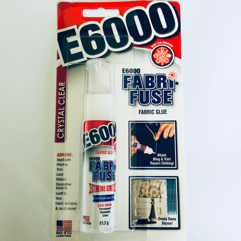E6000 Fabri-Fuse permanent fabric glue dries clear non toxic new packaging design