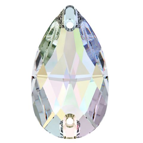 Swarovski® crystal SEW-ON STONES - Article 3230 - PEAR - CRYSTAL AB - 3 sizes available