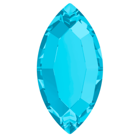 stock image of Swarovski Crystal article 2200 Navette Flat Back in Aquamarine blue